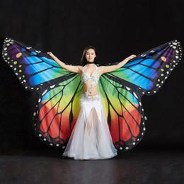 Bastone da danza del ventre online-2019 Performance Donna Dancewear Puntelli in poliestere Mantello in poliestere Danza Ali di farfalla Ali di farfalla per danza del ventre (con bastoni)