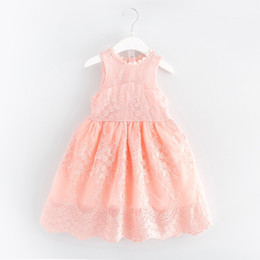 Wholesale Girl Flower Crochet Top - Baby Girls Cotton Lace Sleeveless Summer Ball Gown Dresses Princess Fairy Tulle Party Dance Dress Crochet Lace Flower Tops Tutu dress