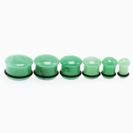 Wholesale Body Jewelry Stretches - 2PCS Fashion Ear Plugs Flesh Tunnels Natural Green Aventurine Stone Stretching Gauge Earrings Tragus Body Piercing Jewelry For Men Women New