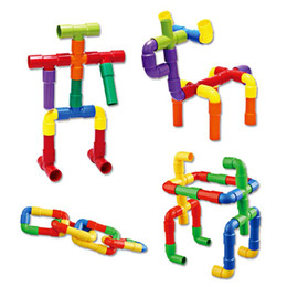Wholesale Toy Pipes - DIY Assembling Water Pipe Building Blocks Toy Baby Kids Pipeline Tunnel Block Model Toy Colorful Educational Toys for Children