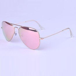 Wholesale Gold Lens Mirror Sunglasses - matte gold frame pink mirror lens sunglasses women brand sunglasses wholesale Unisex sun glasses free shipping