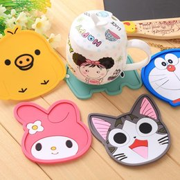 Wholesale Rabbit Temperature - 1pc Fashion Creative Cartoon Silicone cat Yellow Duck Rabbit Coffee Table Coaster High Temperature Resistanced Drink Cup Mat