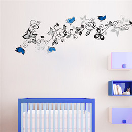 Wholesale Wall Stickers Flowers 3d - Creative DIY 3D wall sticker horse for kids room Carved Removable home poster stickers new blue Flower vine carved Decorate 2017 Wholesale