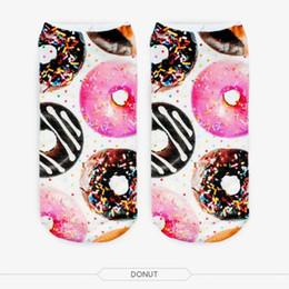 2019 donut de sock Atacado- moda muito bonito mulheres meninas 3D impresso algodão meias elásticas novo hot donut desconto donut de sock
