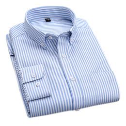 Wholesale High Collar Dress Shirt Men - Wholesale- Latest Design 2017 Autumn Oxford Men Business Casual Shirts Stripe Plaid Men Dress Shirts High Quality Cotton Long Sleeve Shirts