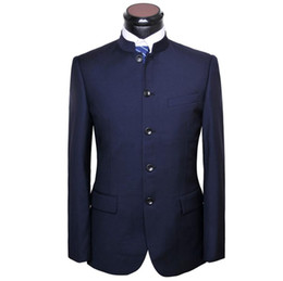 Wholesale Chinese Fashion Tunic - Wholesale- Men Chinese Tunic Suit jacket New Arrival fashion Formal High Quality Blazer Suits For Men suit jacket