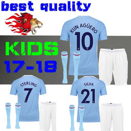 Wholesale Children Gold Set - kids citys Jerseys kit 2017 2018 BOYS Kun Aguero TOURE YAYA SILVA De Bruyne football shirts 17 18 child jersey sets G.Jesus SANE