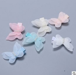 Wholesale Rainbow Headbands Wholesale - Cute Butterfly Hair bow 2016 New Korean Children Girls Barrettes boutique hair bows Bow Pearl Rainbow Color Kids Hair Accessorie 7420