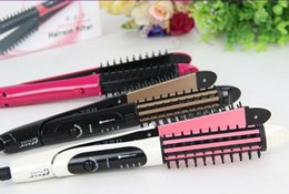Wholesale Iron Weights - 2017 newest and convenient durable black EU plug curling iron hair straightener Straight two-in-one hairdresser for dry hair