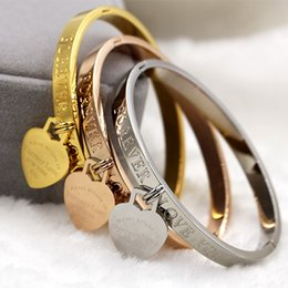 Wholesale Sales Forever - Hot Sale New Brand 316l Stainless Steel Rose Gold Silver Forever Love Heart Bracelet Wristband Charm Bangle Woman Party Gift fashion jewelry