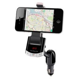Wholesale Car Cigarette Holders - Wholesale-Bluetooth Car Kit FM Transmitter Phone Mount Car Holder With Handsfree Calling Cigarette Lighter Charging for iPhone Samsung