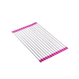 Wholesale Kitchen Dish Drainer - Wholesale- My House Sink Storage Dish Drying Rack Holder Fruit Vegetable Drainer Colanders Kitchen Hot Pink 2017 New Hot Sell 17Mar13
