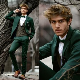 Wholesale Traje Skinny - Wholesale- Mens Dark Green Suits With Pants Wedding Groom Custom Made Men Slim Fitted Suit Traje Hombre Boda Homecoming Suit Jacket+pants