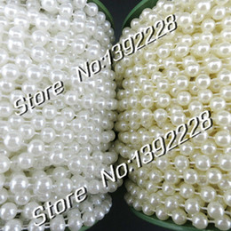 Wholesale Pearl Garland Christmas - Wholesale-25m roll Pearl Garland 6mm White Beige Beads diy Wedding Flowers Decoration Christmas Festa Event Supplies