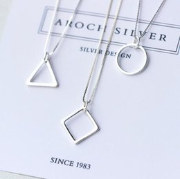 Wholesale Mixed Geometric Necklace - Hot sale Geometric Triangle Square Pendant New Women Fashion Fashion Chain Chain WFN610 (with chain) mix order 20 pieces a lot