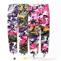 Wholesale Pink Ribbon Buttons - NEW best version Men women Pink purple camouflage Stitching ribbon pants hiphop Fashion Casual camo cargo pants 3color M-XL