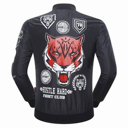 Wholesale Cheap Motorcycle Stands - New Arrival Cheap Jacket Men Stand Collar Zipper Tiger head Pockets Casual Long Sleeve High Street Fall Winter Black Tide Motorcycle Coat