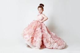 Wholesale Drag Wedding Dress - 2017 Very Hot Pink Chiffon Flower Girl Dress Length And Area Drag Child Beauty Pageant Dress Girl Beauty Pageant Dress