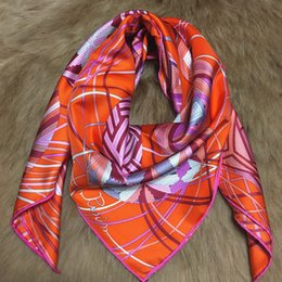 Wholesale Thick Silk Scarf - Hot sale spring and autumn orange printing 90cm * 90cm thick 100% pure silk women silk scarf