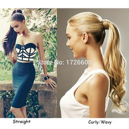 Wholesale Real Hair Hairpieces - Wholesale- 1PC New Arrival Curly Ponytail Hair Extension 18inch Wrap Around Pony Tail Synthetic Hairpiece Natural Real Wavy Ponytails