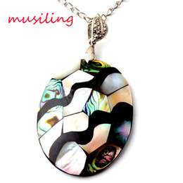 Wholesale Oval Shell Pendants - Pendant Necklace Chain Oval Pendant Abalone Shell Splicing Pendant Jewelry Different Design Bohemian Style Accessories Fashion Jewelry