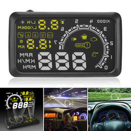 Wholesale Car Head Up - 5.5 Inch Auto OBDII OBD2 Port Car Hud Head Up Display KM h MPH Overspeed Warning Windshield Projector Alarm System CAL_409
