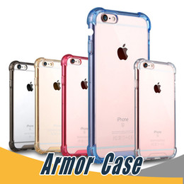 Wholesale Tpu Pc Bumpers - Transparent Shockproof Acrylic Hybrid Armor Bumper Side Soft TPU Back PC Case Cover For iPhone 6 6s 7 Plus Samsung S7 Edge Note 8 S8 Plus