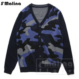 Wholesale Leather Computer Sleeve - Men's Fashion color camouflage skull leather soft Merino wool knitting cardigan sweater v neck DS056