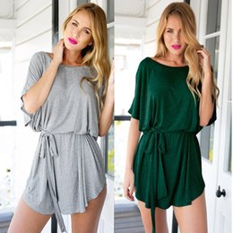Wholesale dresses shift cotton - Women's Casual Batwing Short Sleeves Soft Cotton Shift T Shirt Dress Loose Fit Style Relaxed Fit