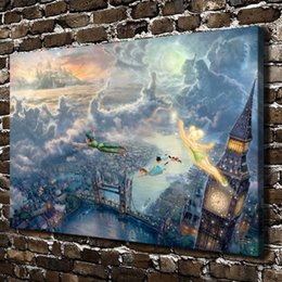 Wholesale Fly Figure - HD Printed Thomas Kinkade Oil Painting Home Decoration Wall Art On Canvas Fly To Neverland 24x36inch Unframed