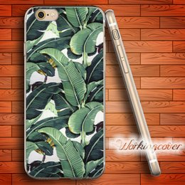 Wholesale Silicone Iphone 4s Covers - Coque Tropical Banana Leaf Pattern Soft Clear TPU Case for iPhone 6 6S 7 Plus 5S SE 5 5C 4S 4 Case Silicone Cover.