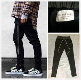 Wholesale Cotton Dress Elastic Waist - chinos joggers mens european urban clothing black west justin bieber harem dress zipper track pants fear of god have logo