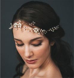 Tiara da pera de strass on-line-Nupcial Do Casamento do vintage Pérola Faixa de Cabelo Faixa de Cabelo Tiara de Cristal Strass Jóias Princesa Rainha Prom Cocar Ouro Prata
