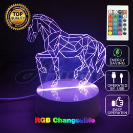 Wholesale Led Horse Night Light - Colors Changing Holiday Atmosphere Decorative Horse 3D Ilusion LED Night Light 3D Lamp with Remote Switch
