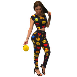 Wholesale Cute Women Suits - Women's Tracksuits Emoji Print Women Sweat Suits 2017 summer Two Piece Set Top and Pants Sexy Sportswear Women Cute Jogger Set