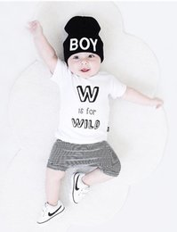 Wholesale Summer Striped Shirts For Boys - NWT INS 2017 New cute Baby Boys Outfits Summer 2piece Sets Boy Cotton Tops Shirts Vest + Striped Shorts Pants PJ'S - W is for Wild