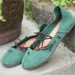 Wholesale Point Coffee - Women's Flat Shoes Coffee Green White Pointed Toe Ballet Flat Shoes Cow Genuine Leather Slip On Loafers with Elastic Band