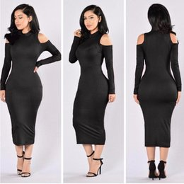 Wholesale Women S Sleeve Bodice Dress - 2017 Autumn Sexy Long-sleeved Knit Dress with High Collar Package Hip Strapless Bodice Strapless Dress Women Club One-piece Dress