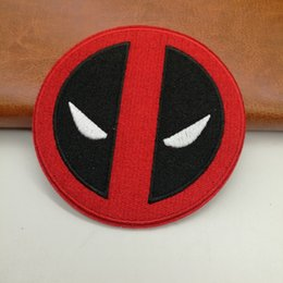 Wholesale Pool Fabric - 9.2cm Comic Cartoon Clothing Iron On Patch Of Stickers, Dead Pool Face Logo Badge Jacket Patch, Children DIY Cloth Fabric Accessories