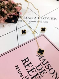 Wholesale Clover Earrings Black - Fashion Jewelry Heart Pendant Necklace Lucky Clover Multi Colors Earring Pendant Necklace Set Beautiful Gift For Women Girl Free Shipping