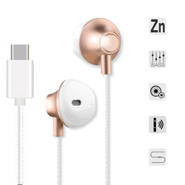 Wholesale noise types - Universal Earphone Type-C Plug Stereo For Xiaomi6 P9 Headset Metal Earbuds Handsfree Calls Volume Control For Letv 2Pro OPPBAG Aicoo