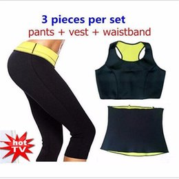 Wholesale Slimming Pants Shaper - ( Pants + vest + waistband ) Control Panties Hot Shaper Selling Super Stretch Neoprene Shapers Clothing Set Women's Slimming Sets