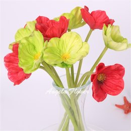 Wholesale Real Touch Flowers Poppy - estive Party Supplies Decorative Flowers Wreaths 11pcs lot Colorful PU real touch artificial corn poppy silk decorative flowers for home...
