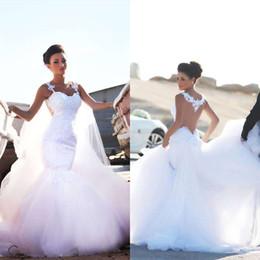 Wholesale Taffeta Mermaid Wedding Bride Dress - Elegant 2017 hot sale plus size wedding dresses sexy lace sheer v neck applique beads sleeveless country wedding dress arbic bride gowns 12