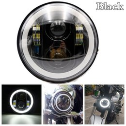 "Wholesale Eyes Bobs - 5.75"" Motorcycle Led 5 3 4"" LED Headlight with Angel eyes Halo for Harley Sportster Iron 883 1200 Dyna Street Bob FXDB"