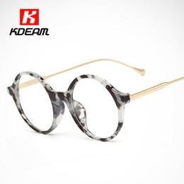 2019 montures de lunettes rondes en gros Lunettes de vue en marbre avec cadre en acétate de Kdeam peuvent être équipées de verres correcteurs Aucun cadre rond promotion montures de lunettes rondes en gros