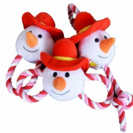 Wholesale Dog Plush Cotton Rope - Father Christmas Puppy Dog Chew Squeaker Squeaky Plush Sound Santa For Dog Sound Toy Teethers With Cotton Rope 20PCS LOT