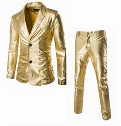 Wholesale Fly Services - Wholesale- Super hot 2016 new men's suits. Set. Bronzing fabric perform service shiny leisure suits. Set. Urban youth fashion Slim suits