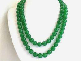 """Pierres de jade rondes en Ligne-Collier de pierres précieuses en jade vert naturel et élégant de 32 """"10 mm"""