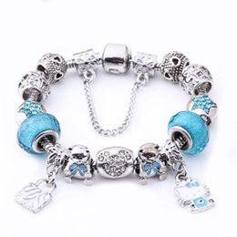 Wholesale Pink Sliver - BELAWANG 2 Colors European 925 Sliver Kitty Charm Bracelets Pink&Blue Murano Glass Bead Bracelets For Women Christmas DIY Style Jewelry Gift